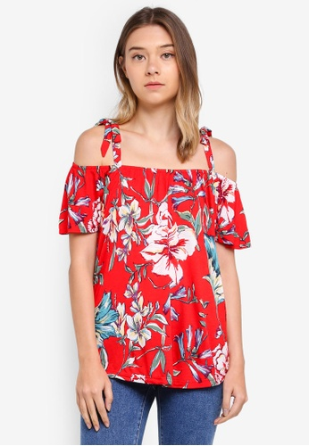 Dorothy Perkins red Red Floral Tie Cold Shoulder Top F0347AADDE321FGS_1