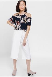 242b48ff67ec02 Pomelo Striped Front Tie Cropped Shirt - Blue RM 99.00  Mohera Floral Cut  Out Shoulder Top
