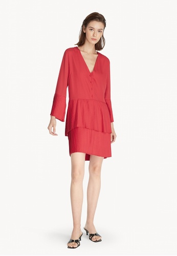 Pomelo red Mini Layer Pleated Dress - Red 234BCAA07FEE74GS_1