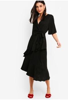 5b455ece731a ZALORA Flutter Sleeves Wrap Ruffles Dress RM 105.00. Sizes XS S M L