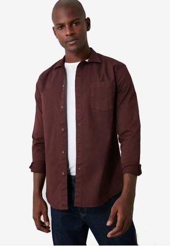Trendyol 紅色 Slim Fit Long Sleeve Shirt 9C17AAA429B596GS_1