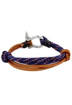 Silver Shackle Duo Brown/Bluemulti Bracelet