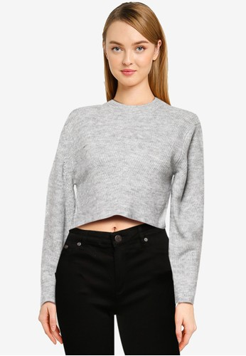 TOPSHOP grey PETITE Grey Marl Chevron Crop Knitted Sweater C547AAAB32F6D4GS_1