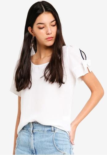 Tokichoi white Basic Tee with Ribbon Sleeve Detail 67E06AA03BE9E0GS_1