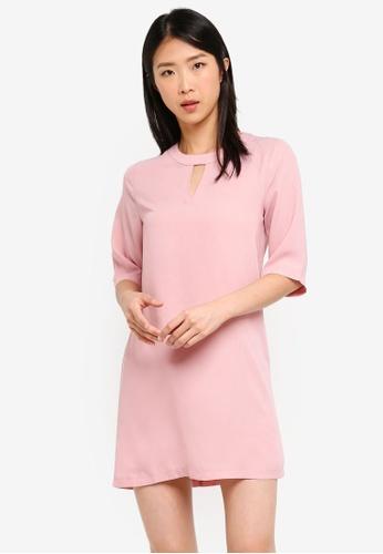 ZALORA BASICS pink Basic 3/4 Sleeves Notch Neck Dress 18730AA4246C17GS_1