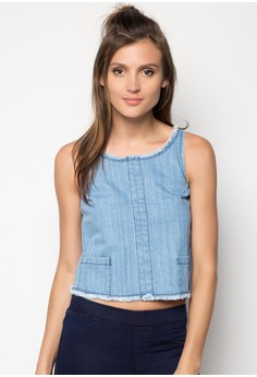 Sleeveless Denim with Fringe Detail