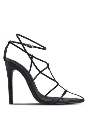 Public Desire black Charmer Multi Strap Point Toe Heels 05087SH5040BEEGS_1