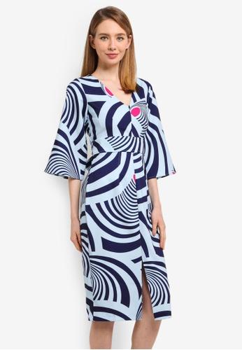 CLOSET blue V-Neck Flared Sleeves Dress 115BAAAE67A225GS_1