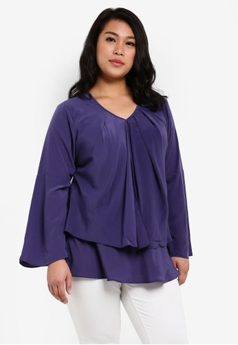 Ex'otico purple Plus Size Long Sleeve Double Layer Blouse EX373AA0RUVCMY_1