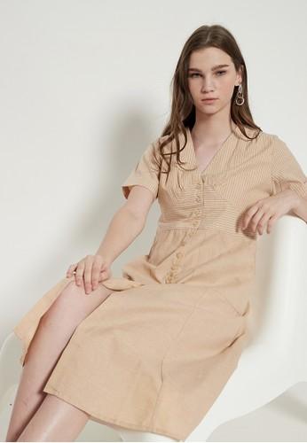 Odiva Woman beige FIANA STRIPED DRESS BEIGE 2D129AA323EFADGS_1