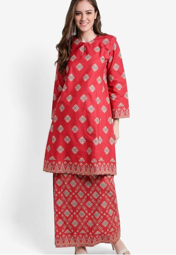Butik sireh pinang red shamim english cotton kurung with songket print