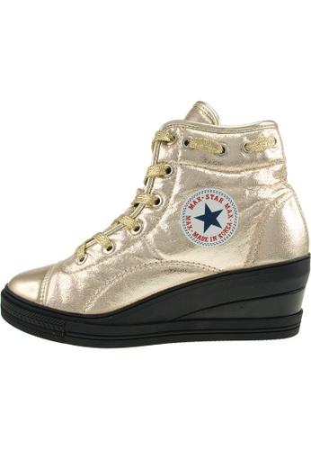 Maxstar 金色 新款韩国鞋7H-Zip-TC-020時尚合成物質布混合女金色 US Women Size MA345SH07HEMTW_1