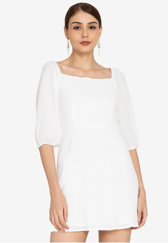 ZALORA OCCASION white Balloon Sleeve Square Neck Dress F6D3DAA0F3345DGS_1