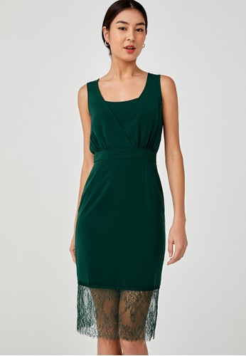 Love, Bonito green Tamika Back Slit Lace Trim Dress D9989AAF6AEE91GS_1
