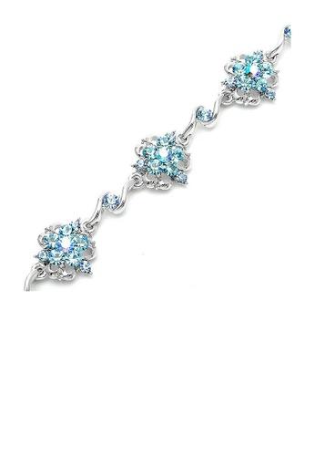 Glamorousky blue Antique Chain Bracelet with Blue Austrian Element Crystals EF6D1AC0F9D4BDGS_1