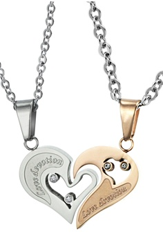 de455f2673f8 Trendyshop silver and gold Matching Heart Couple Pendant Necklace Set  A8C2FAC10A1DD1GS 1