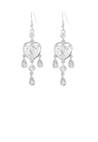 Glamorousky silver Elegant Heart Shape Earrings with Silver Austrian Element Crystals and CZ E69A5AC178616AGS_1
