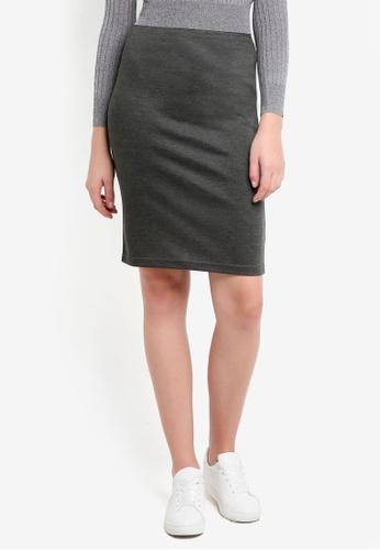 ZALORA BASICS grey Basic Bodycon Skirt 323FEAA98B3C0AGS_1