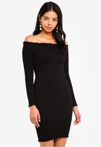 2a910d1b547cc4 Bardot black Off Shoulder Long Sleeve Dress 1EEFFAAA0740C7GS 1