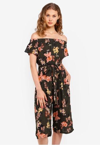 Dorothy Perkins green Khaki Floral Bardot Jumpsuit CE6A7AA730009EGS_1