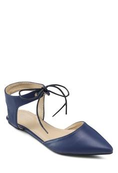 【ZALORA】 Sienna 基本款尖頭繞踝平底鞋
