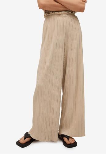 Mango beige Pleated Flowy Trousers 4A69EAA69AD197GS_1