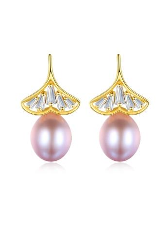 SUNRAIS gold Premium colored stone golden leaf earrings 0DD17ACCC5F7ABGS_1