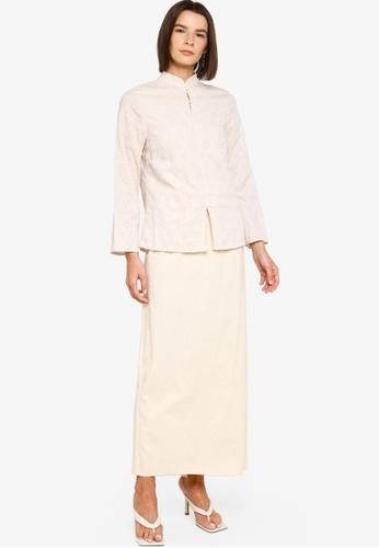 ZALIA BASICS beige Mandarin Collar Top With Skirt Set C0AB3AA776C030GS_1