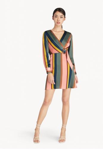 Pomelo multi Striped Belted Wrap Dress - Multi Color 646DCAA3AA8481GS_1