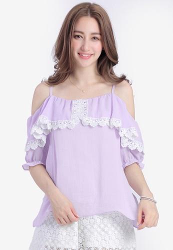 YOCO purple Cold Shoulder Ruffle Cami Top with Crochet Trim 482A3AADD2BAEDGS_1