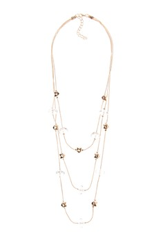 Long Crystal & Gold Necklace