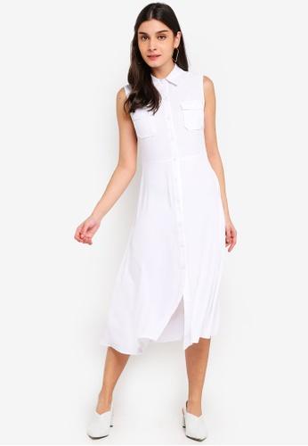 ZALORA 白色 Pocket Detailed Sleeveless Dress 7F081AAADFF6F5GS_1