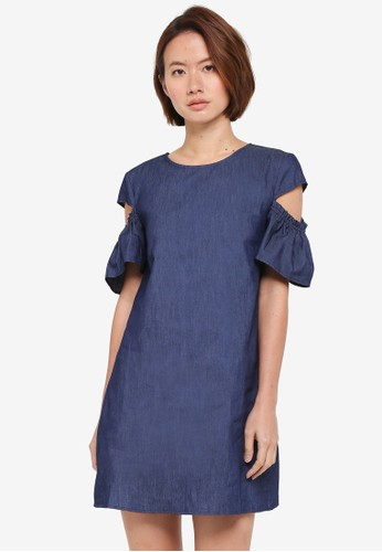 ZALORA blue Tunic Dress With Sleeve Cut Out B9329AA960BEA9GS_1