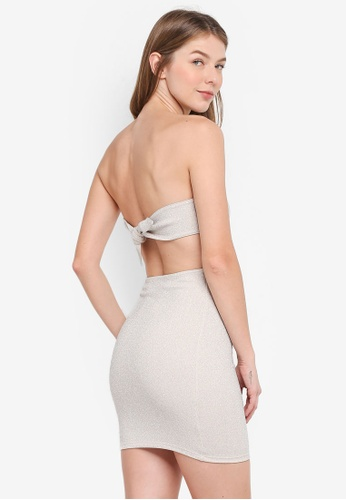 TOPSHOP silver Tie Back Bandeau Mini Dress 634B0AAF9E0ABEGS_1