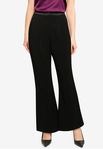 Lavish Alice black Satin Mix Tailored Flared Trousers CF849AA09A8091GS_1