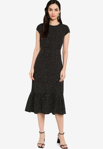 ZALORA WORK black Cap Sleeve Midi Dress 8E7C9AA2845B5AGS_1