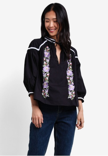 TOPSHOP black Embroidered Poplin Tie Neck Top TO412AA0S4HIMY_1