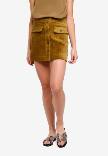 MANGO beige and brown Buttoned Corduroy Skirt 111F1AA4A0D346GS_1