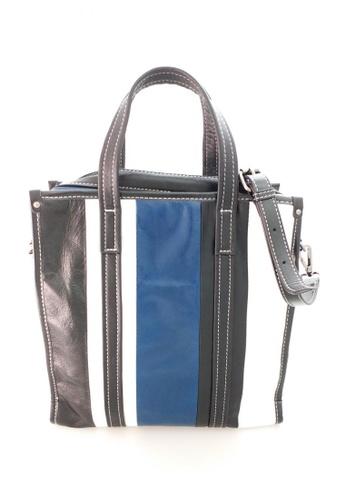 IXACC black and white and blue Multi-color Striped Leather Tote Handbag IX982AC0J6IFPH_1
