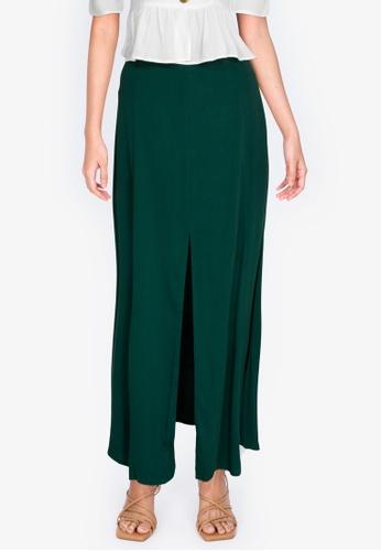 ZALORA BASICS green Maxi Skirt With Slit E245AAA35FF975GS_1
