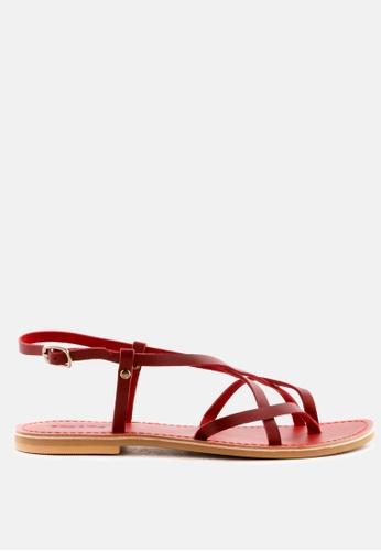 RAG & CO 紅色 真皮平底皮带扣绑带凉鞋 022BASHB2EAB25GS_1
