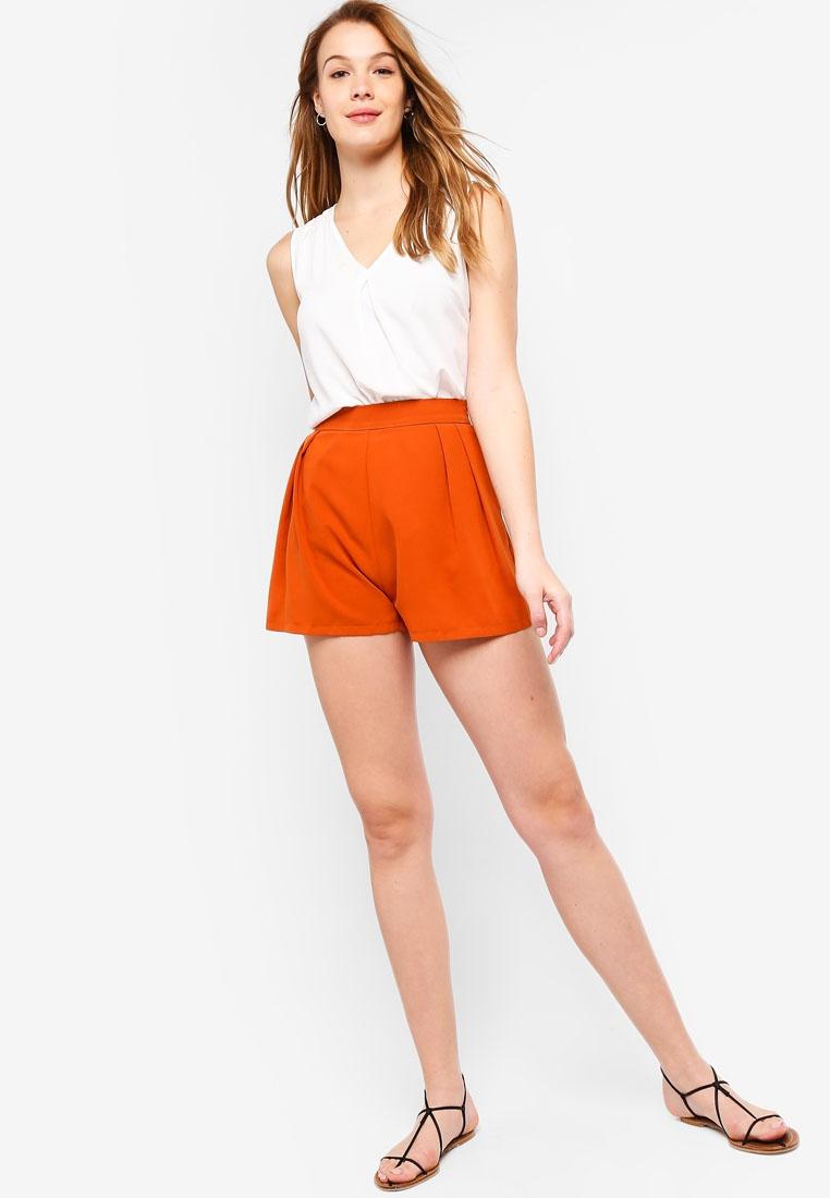 Basic ZALORA BASICS Pleated Orange Shorts Burnt FF5rxwqA