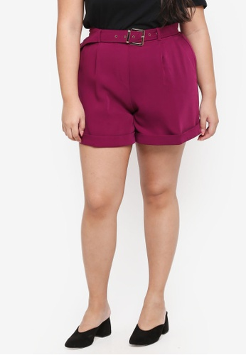 ELVI purple Plus Size Arya Belted Shorts B1A71AAA8FD470GS_1