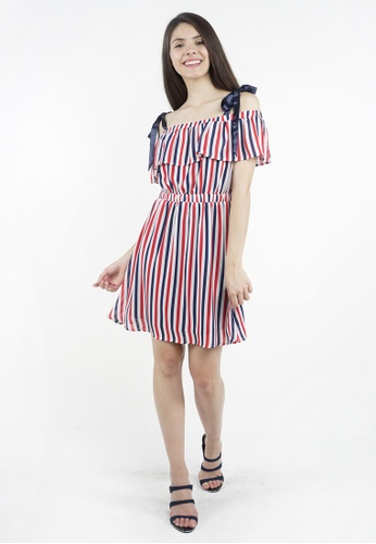 dec58c4fad11 Eighteen Plus white and red and blue Eighteen Plus Off Shoulder Three Tone  Striped Chiffon Mini