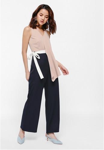 Love, Bonito beige Jhenji Belted Asymmetrical Jumpsuit 0DC5BAA1E4916CGS_1