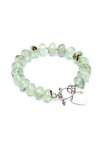Celline Silver green Prehnite with Heart Charm Bracelet C1E9FAC96591E4GS_1