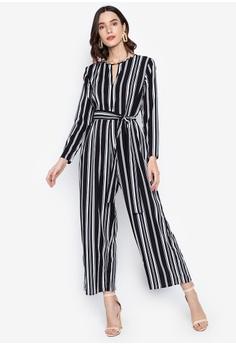 868c2bb4b9 Chloe Edit black Striped Jumpsuit W/ Self Fabric Belt 311DCAA697B082GS_1