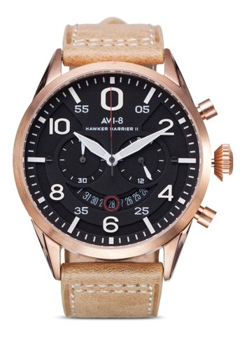 Hzalora 折扣碼awker Harrier II 皮革大圓錶, 錶類, 飾品配件