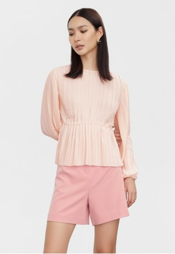 Pomelo pink Pleated Long Sleeve Top - Pink 3E569AA795B51BGS_1