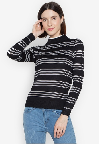 BNY black Ladies Striped Knit Long Sleeves Top A7B1FAABE20A06GS_1